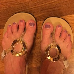 New Vionic 'Karina' Sandal Gold Cork Sz 8